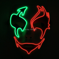 Funny New Design Flickering EL Wire Cold Light Horror Mask Music Sensitive Neon Led Strip Halloween Party Mask for Concert Disco