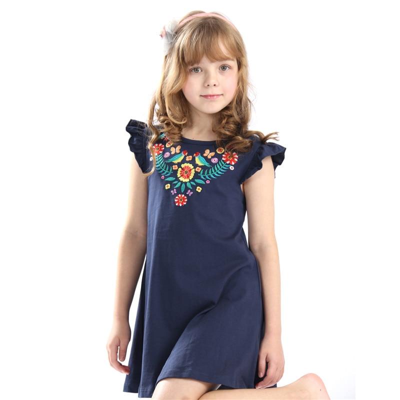 Venda quente do bebê meninas verão vestidos bordados crianças vestido com applique alguns pássaros bonitos dos desenhos animados top quality new projetado Vestido