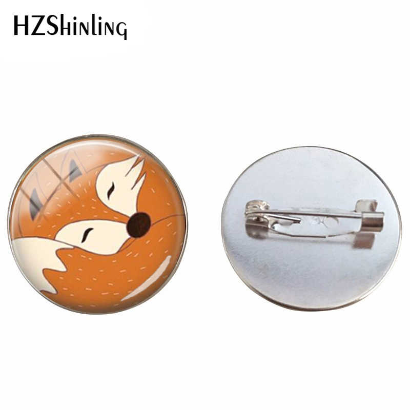 Red Fox Bros Tidur Fox Hewan Perhiasan Pin Hewan Seni Kubah Kaca Bros Little Fox Di Hutan Perhiasan untuk teman
