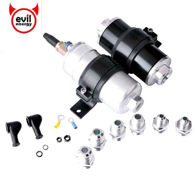 evil energy Fuel Pump 0580254044 300LPH+Inline Aluminum Fuel Filter AN6/8/10 100 Micron Element Steel+Double Fuel Pump Brankets isw 100 100a water pump 4 inch horizontal inline pump for sale