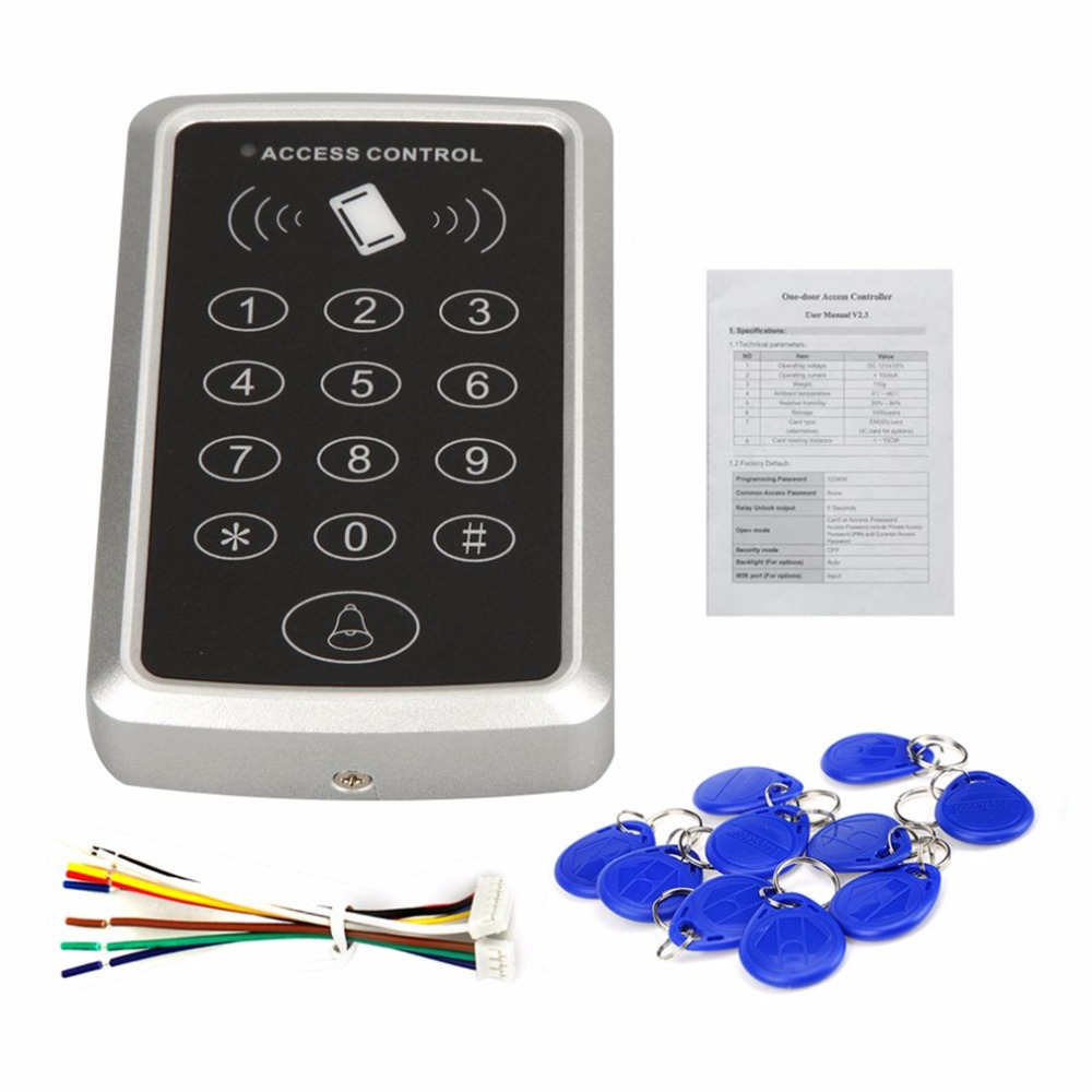 RFID Proximity Card Access Control System RFID/EM Keypad Card Access Control Door Opener+ 10 rfid tag 10 rfid card 125khz em keypad card access control system kit power supply door swtich button
