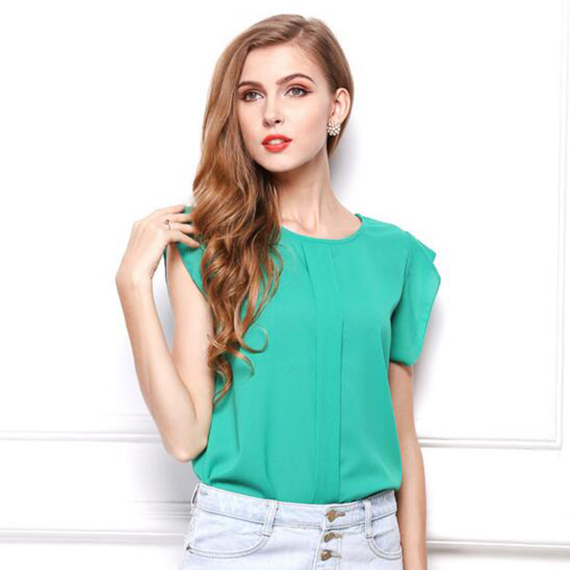 Fashion Womens Blouses Chiffon Clothing Summer Lady Blouse Shirt Sale New Fashion Ruffle Short Sleeve Tops OL Blouse Gifts