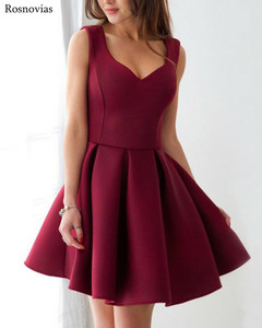 Image 2 - 부르고뉴 짧은 댄스 파티 드레스 2020 v 넥 사이드 지퍼 무릎 길이 동창회 파티 드레스 vestido de fiesta cheap customized