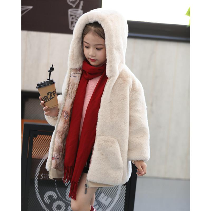 2019 New Winter Kids Girl Clothes Faux Rex Rabbit Fur Outerwear Children Thick Warm Princess Jacket Teen Girl Hooded Coat Q8382019 New Winter Kids Girl Clothes Faux Rex Rabbit Fur Outerwear Children Thick Warm Princess Jacket Teen Girl Hooded Coat Q838