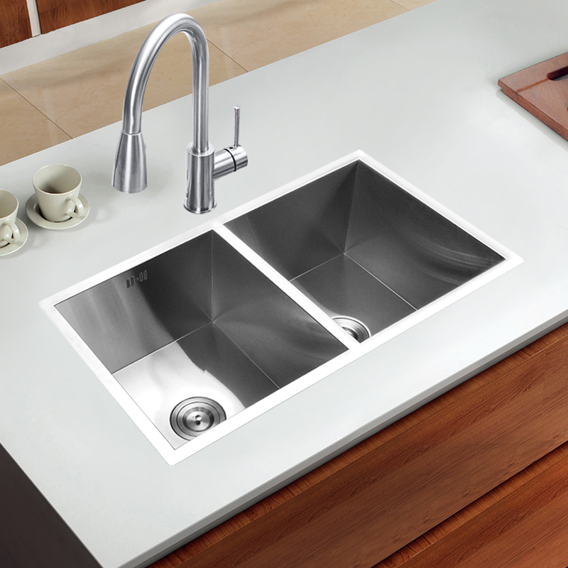 800450220mm 304 stainless steel undermount kitchen sink set double 800450220mm 304 stainless steel undermount kitchen sink set double bowl brushed drainer handmade brushed seamless sink in kitchen sinks from home workwithnaturefo
