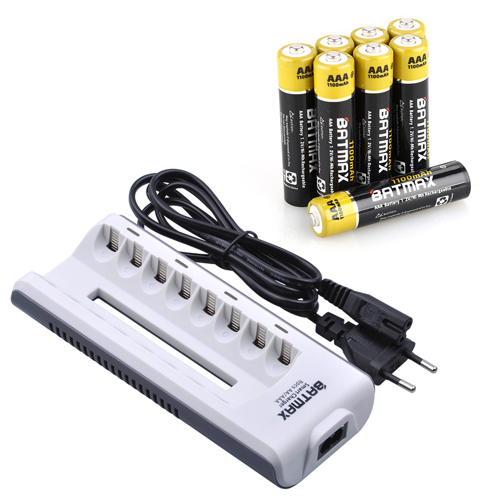 8pcs 1100mAh 1.2v AAA Rechargeable Battery+ 8-Slots Rechargeable Battery Charger for AA/AAARechargeable NIMH Batteries