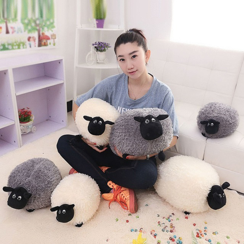 Cute Cartoon Sheep Pillow Cushion Plush Toys Lovely Soft Fluffy Stuffed Toys Brinquedos Xmas Children's gift 25/30cm White/Grey flower plush stuffed pillow creative gift lovely cushion