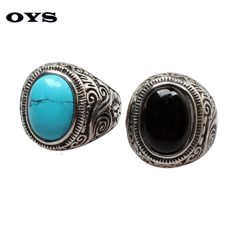 New Arrival Blue Stone Fashion 316L Titanium Steel Ring Exquisite Retro Brilliant Turquoise Mens Rings Size 7-14