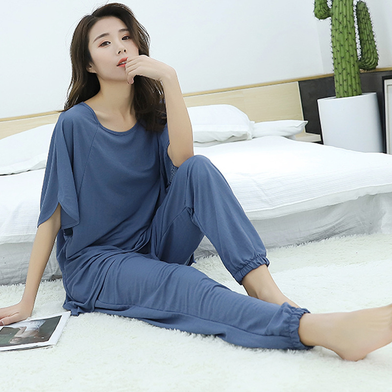 women   pajamas     set   Autumn new home suits Modal short-sleeved shirt + trousers two piece   sets   loose sleepwear pijama lingerie