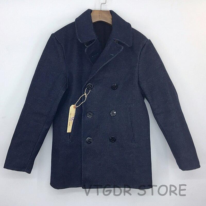 Bob Dong 32 oz 740 abrigo de guisante Vintage US Navy Selvage chaqueta de mezclilla abrigo militar para hombres