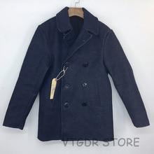 Bob Dong 32oz 740 Pea Coat Vintage US Navy Selvage Denim Jacket Military Coat For Men
