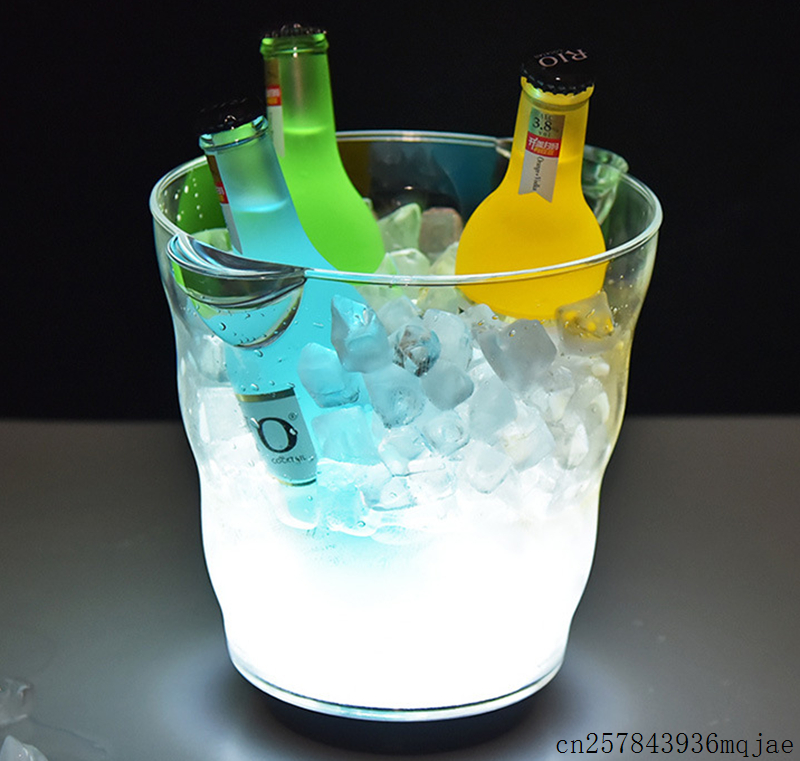 4pcs 4.5L LED Ice Bucket Wine Cooler Drink Rechargeable Luminous Champagne Beer Bottle Glass Holder Tub Bar Party Decoration