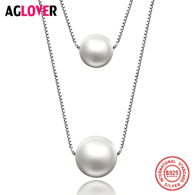 10mm Pearl 925 Silver Necklace Jewelry Woman Charm Freshwater Pearl Pendant Silver Box Chain Necklace Fashion Jewelry