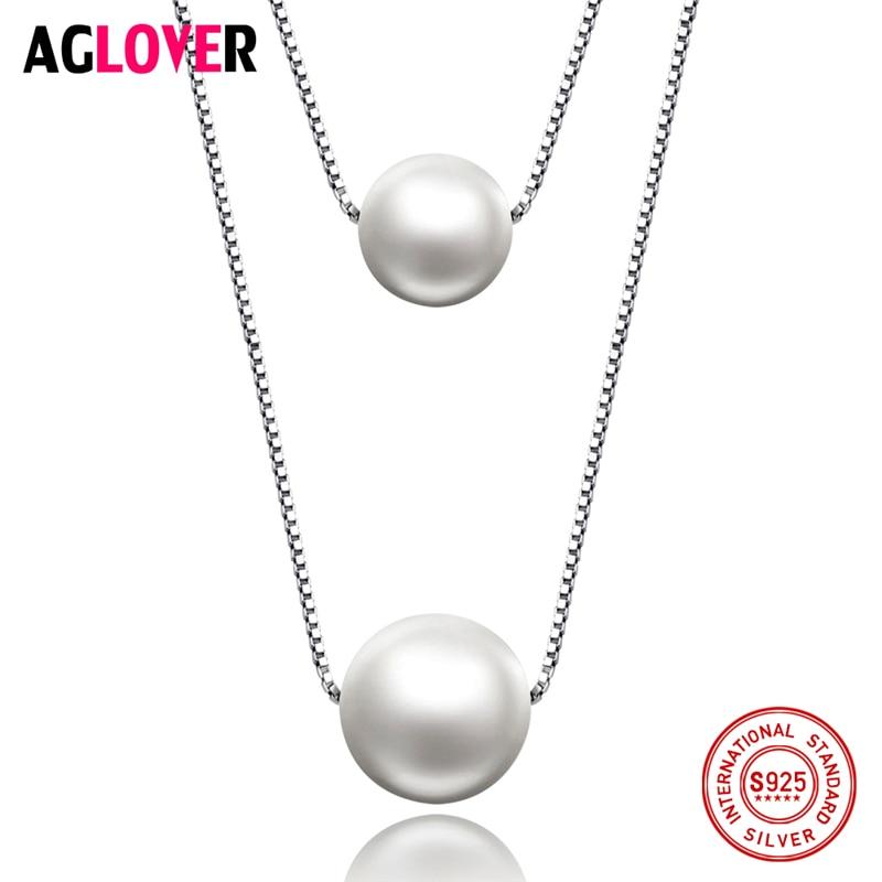 3951009fe755 10mm Perla 925 Collar de Plata de la Joyería de La Mujer Del Encanto de Agua  Dulce Perla Colgante Collar de Cadena de Caja de Plata de Joyería de Moda  ...
