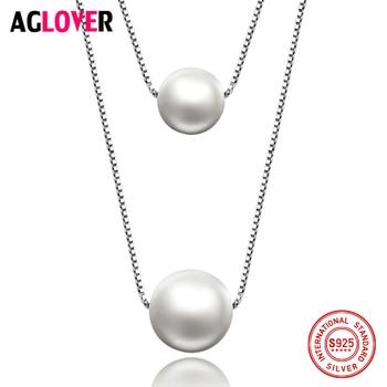 86ba6af8679f 10mm Perla 925 Collar de Plata de la Joyería de La Mujer Del Encanto de Agua
