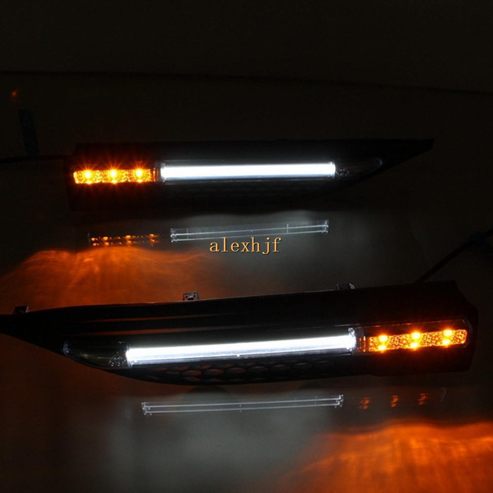 July King Car Fender LED Light Guide Side Lights DRL + Yellow Side Turn Signals Case for Land Rover Range Rover Evoque 2013~ON for land rover range rover evoque inside