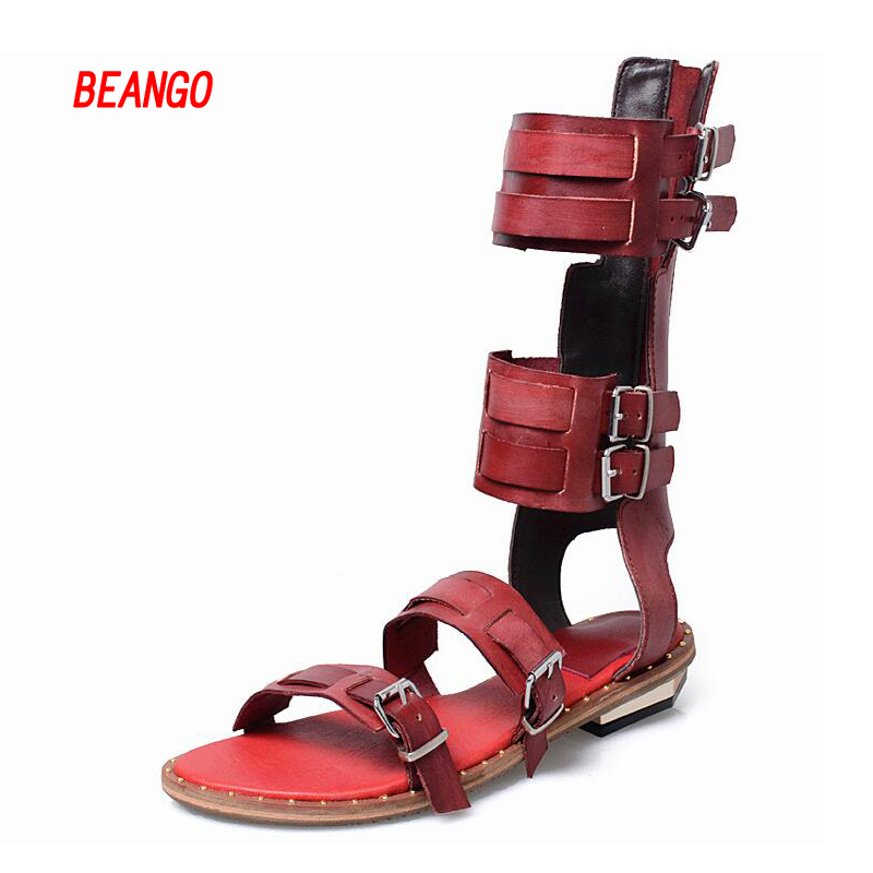 BEANGO 2017 New Women Metal Buckle Sandals Gladiator Rome Strap Boots Band Strappy Ankle Boots Shoes Woman Summer Flat Shoes runtogether new summer women gladiator flat sandals shoes woman retro punk metal chain shoes open toe rome sandals size 35 40