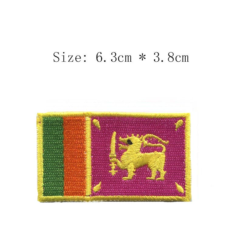 Free shipping Sri Lanka embroidery flag patch Lion Country emblem Wholesale iron on sew left chest for Motorcycle Jacket coat(China)