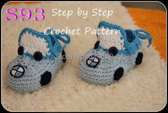 Free Shippingbaby Crochet Shoes Handmade Baby Shoes Car Pattern