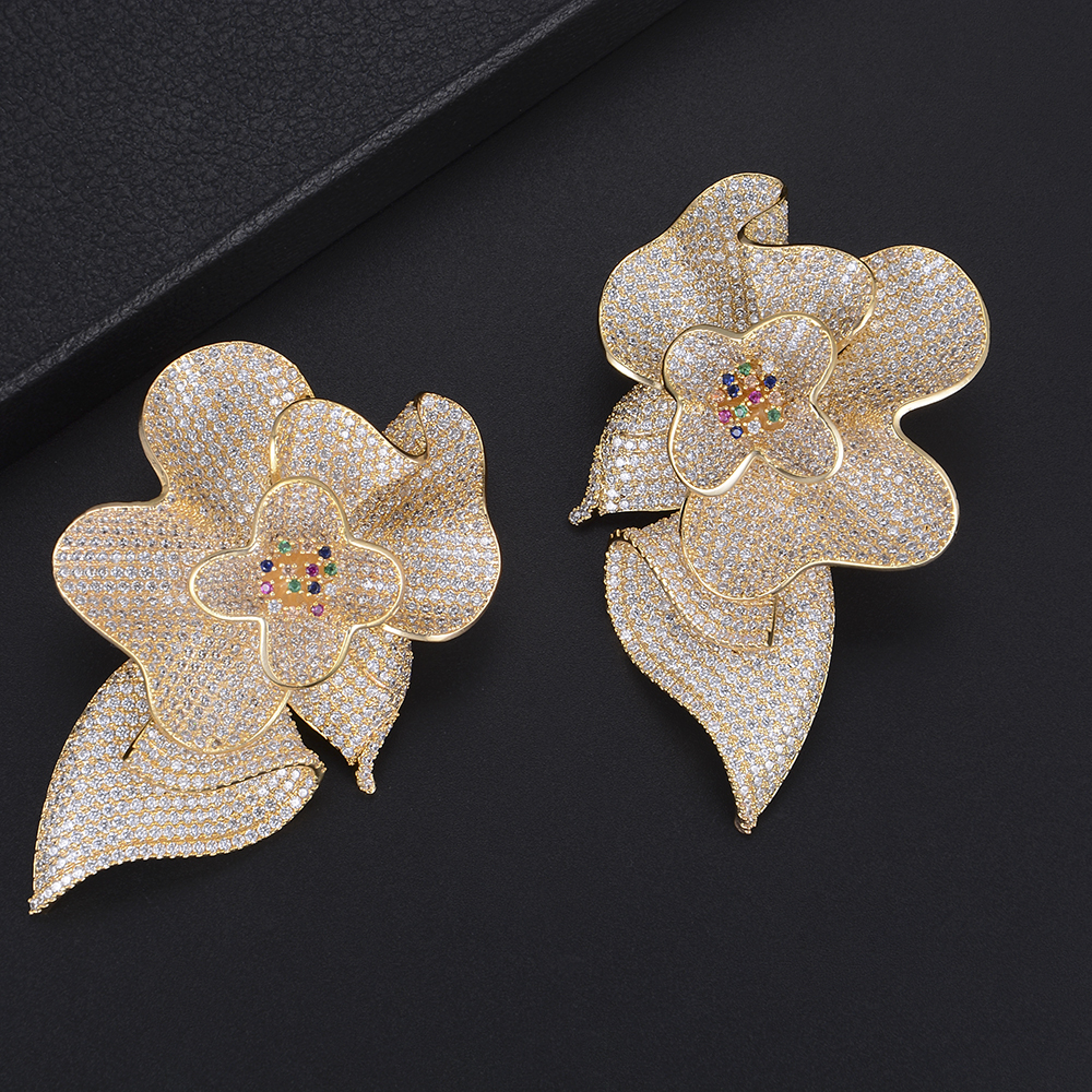 GODKI Luxury Big  Flower Blossom Cubic Zirconia Drop Earrings for Women Fashion Engagement Party Jewelry pendientes mujer moda