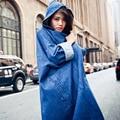 Trench Coat para As Mulheres Denim Casaco Mulheres Abrir Ponto Bat Trench Coat com Capuz Preto de manga Longa Denim Outwear Outono casaco