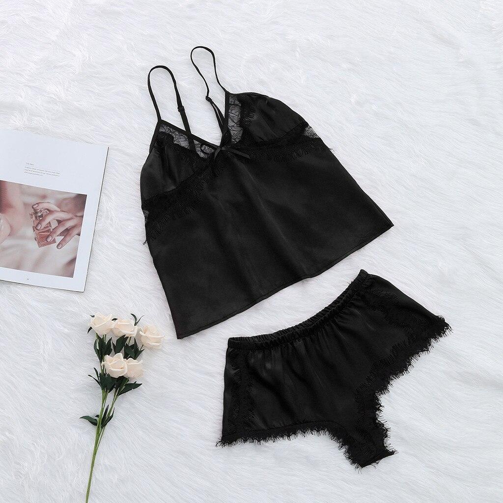 Pajamas For Women Sexy Satin Sling Sleepwear Lingerie Lace Bowknot Nightdress Underwear Pyjama Sexy Femme #XTN