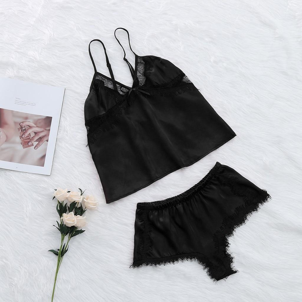 Zielstrebig 2019 Pyjamas Für Frauen Sexy Satin Schlinge Nachtwäsche Dessous Spitze Bowknot Nachthemd Unterwäsche Pyjama Sexy Femme # Xtn Unterwäsche & Schlafanzug Damen-nachtwäsche