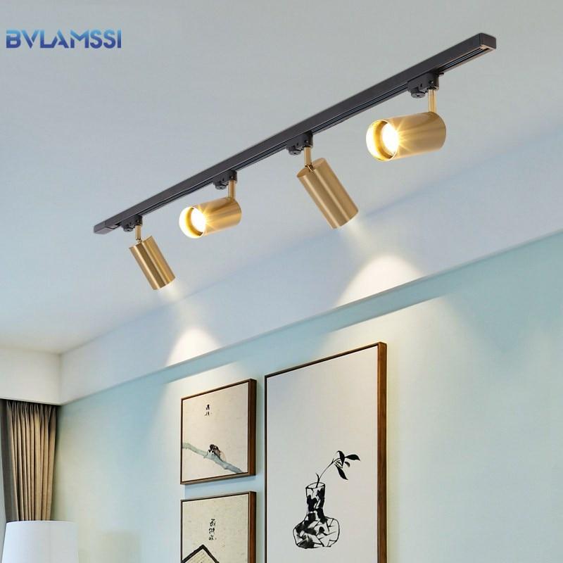 Modern Golden Ceiling Lights Wrought Aluminium LED Ceiling Lamps Rail Track Lamps For Living Room Kitchen