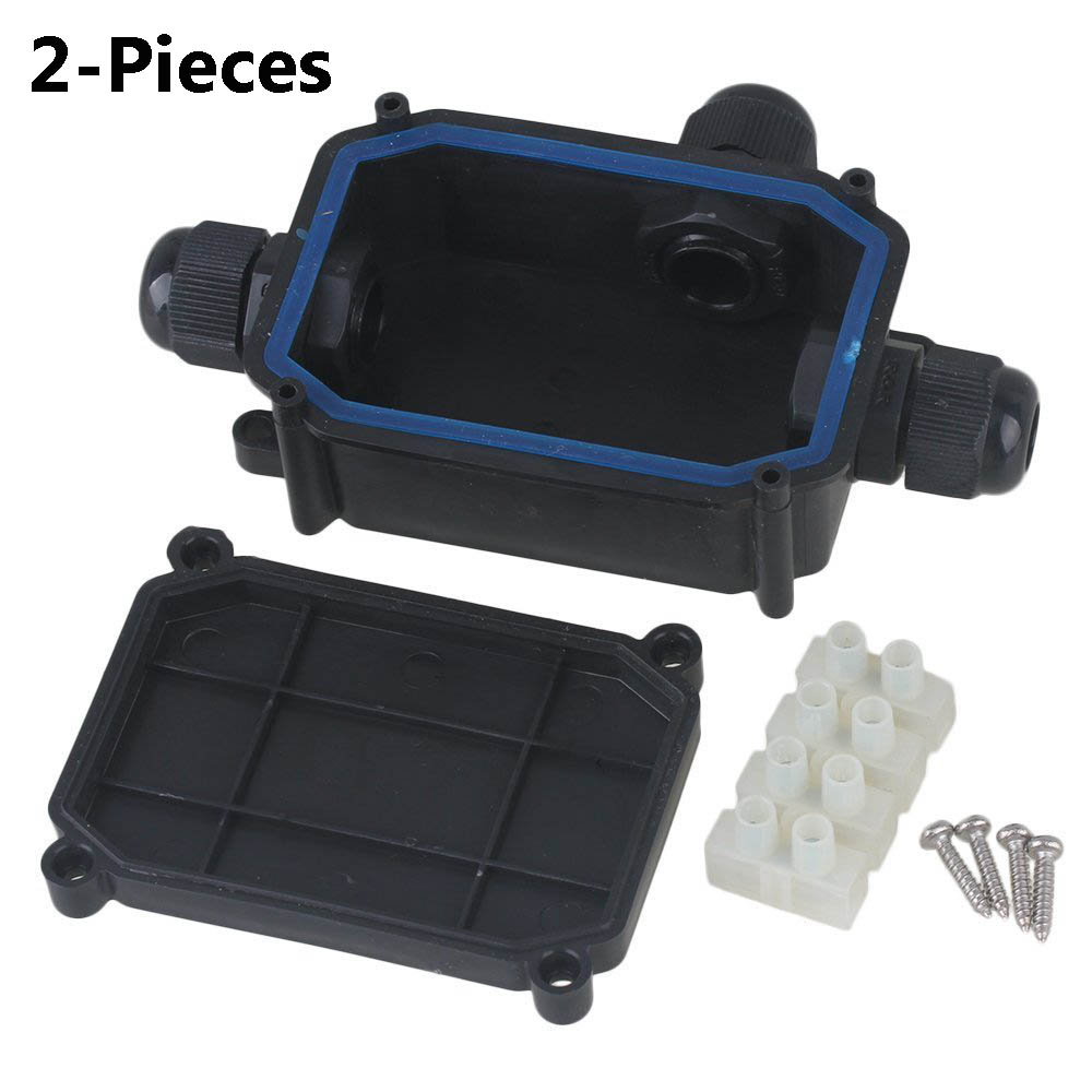 2-Piece Waterproof Black IP66 Plastic Cable Wire Connector Gland Electrical 3-Cable Junction Box with MM04S Terminal