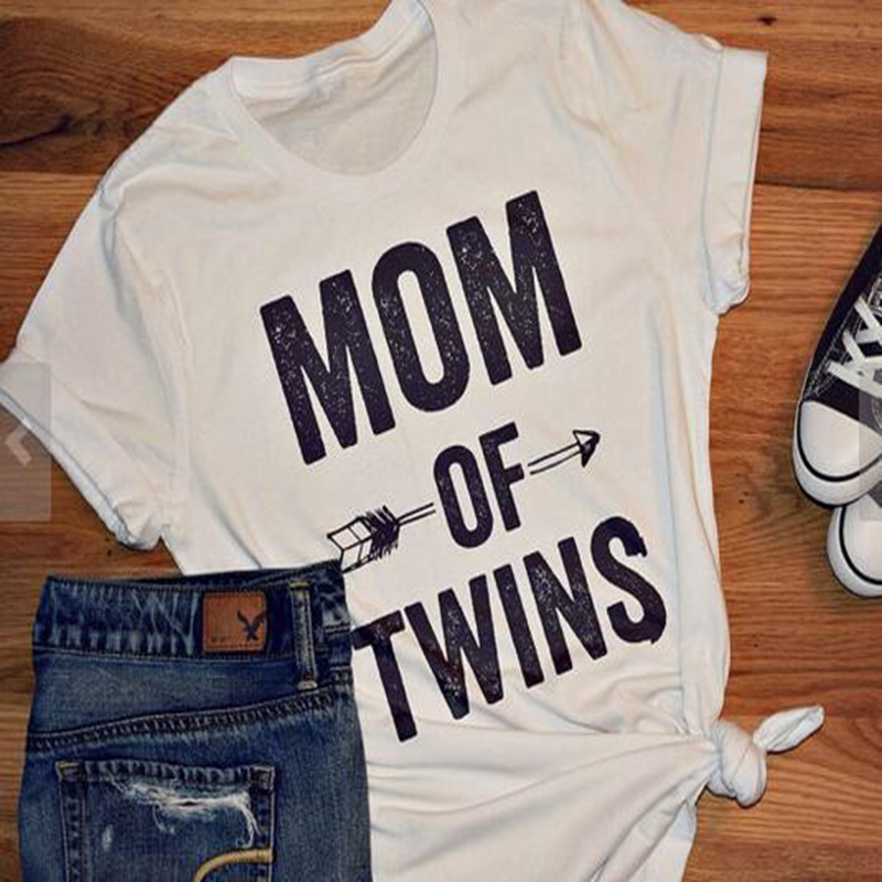 Chulianyouhuo MOM OF TWINS Letter Print T-shirt 2017 Harajuku - Կանացի հագուստ