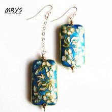 Blue Rectangle Flower Ethnic Cloisonne Enamel Fashion Jewelry Asymmetric Dangle Drop Earrings For Women Sterling Silver Hook New