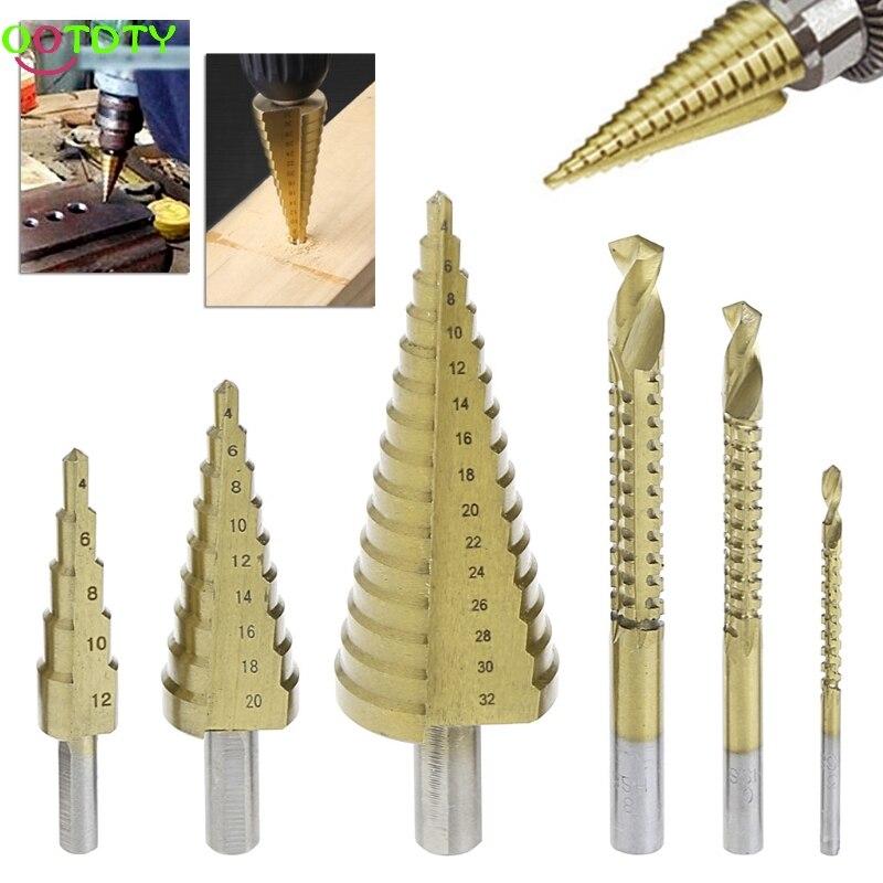 6 Pcs/Set HSS Steel Titanium Coated Step Drill Bit Hole Cutter 4-32mm Metal Tool 1pc new 4 32mm hss step cone drill bit set titanium coated hole cutter for wooworking tool