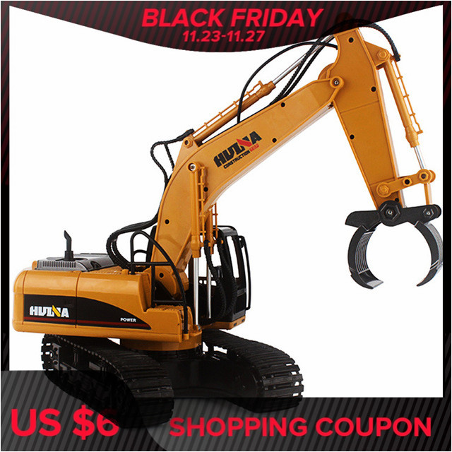 HuiNa 1570 RC Car 2.4G 1:14 RC Excavator 16 CH Metal Charging RC Cars Model Toys Grabbing Machine Auto Demonstration Cars Gifts
