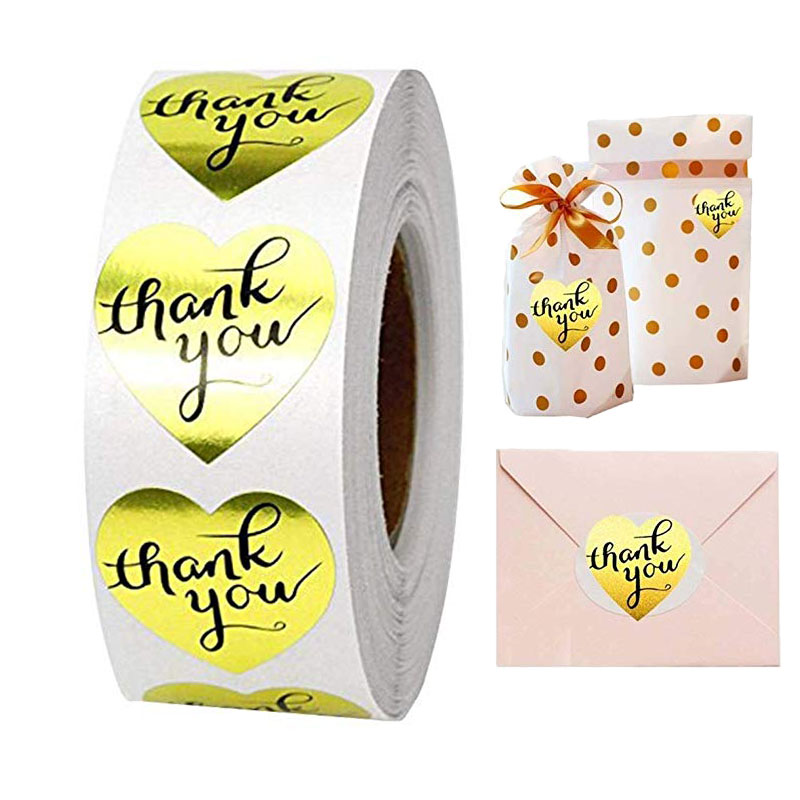 Gold Heart Shape Thank You Stickers Seal Labels 1inch/roll 500 Labels Stickers Scrapbooking For Package Stationery Sticker