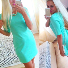 dress Cultivate one's morality show thin blue 2016 Europe and the United States five star favorite sleeve dress is Fast shipping