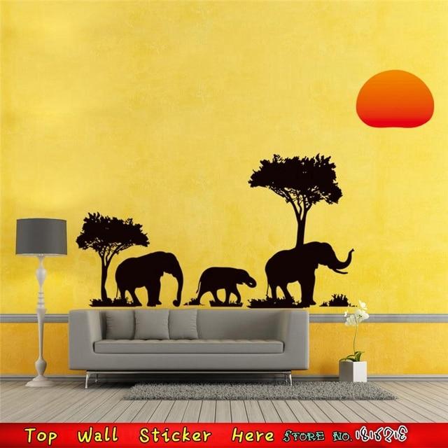 DIY Home Mural Art Black Tree Elephants Sunset Wall Stickers Living ...