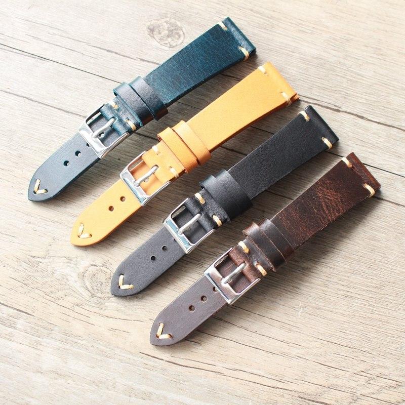 18 19 20 21 22 Mm Handmade Genuine Leather Men Watchbands Universal Wrist Watch Band Fashion Strap Belt For Branded Watch +tool