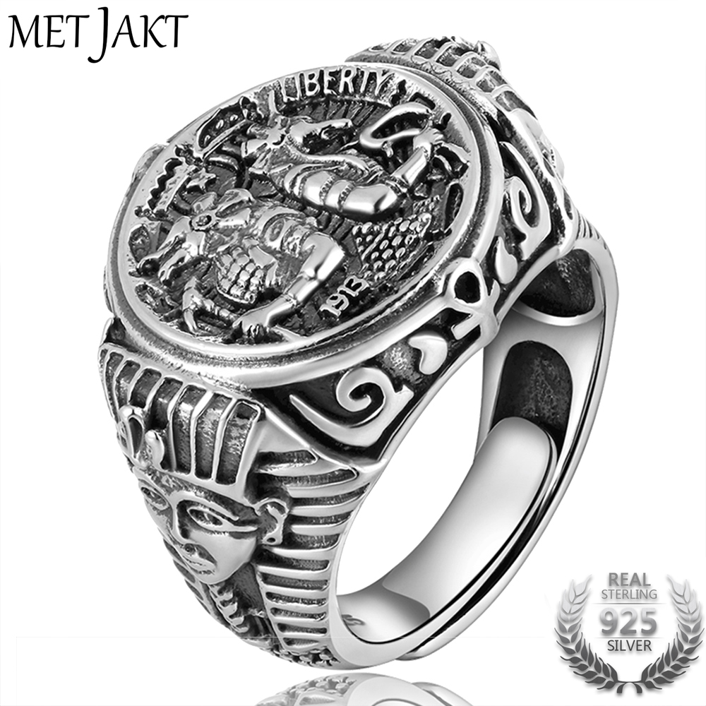 MetJakt Ancient Egyptian Mythology Wolf God Anubis Rings Solid 925 Sterling Silver Open Ring for Men Vintage Thai Silver Jewelry fashion chinese ancient god pattern wacky tie for men