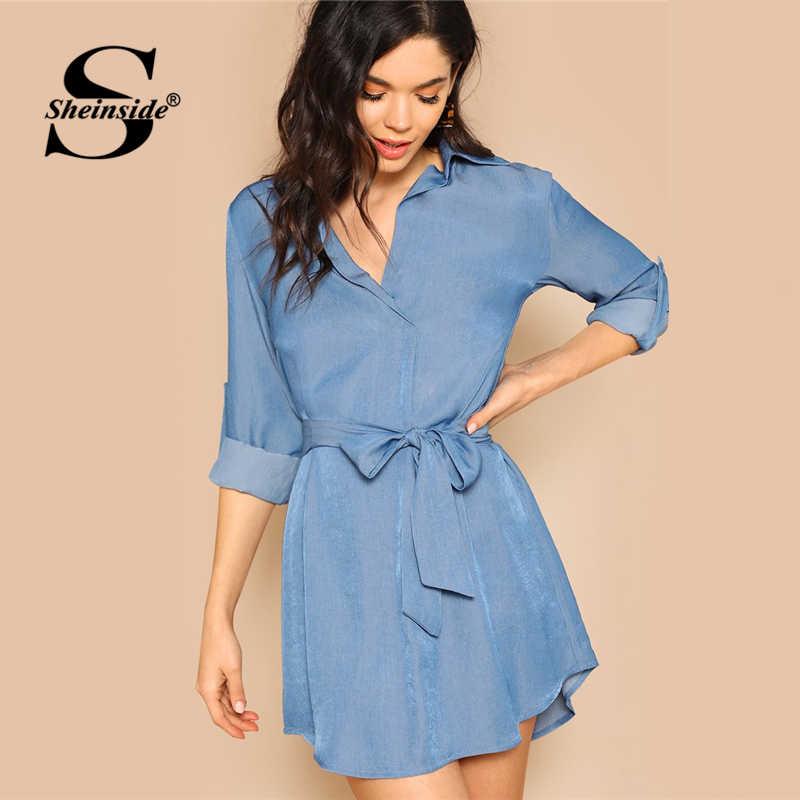Sheinside Элегантный синий V средства ухода за кожей Шеи поясом мини платье 2019, женская обувь весна повседневное с закатанными рукавами платья для женщи