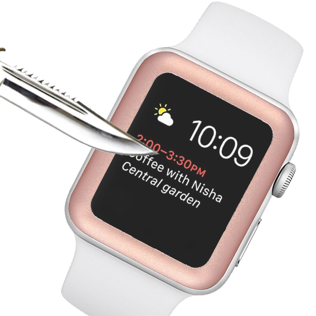 wholesale dealer 68dfd dc88e US $3.81 45% OFF|Besegad Aluminum Bumper Case Cover Tempered Glass Screen  Protector Protective Film for Apple Watch Series 1 2 3 iWatch 38mm 42mm-in  ...