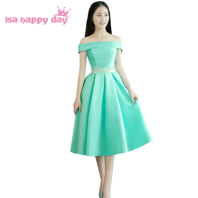 Modest Brides Maid Off The Shoulder Bridesmaids Short Bridesmaid Dresses Mint Green Tea Length