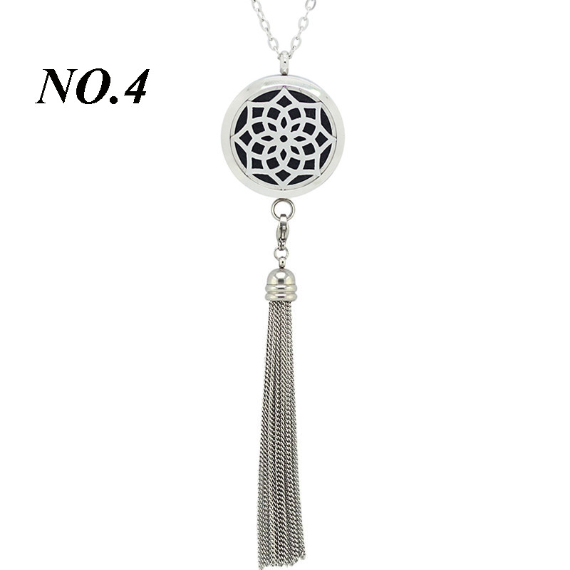 8 Styles 316L Stainless Steel Perfume Lockets 30Mm Aromatherapy Pendant Essential Oil Diffuser Necklace With Tassel