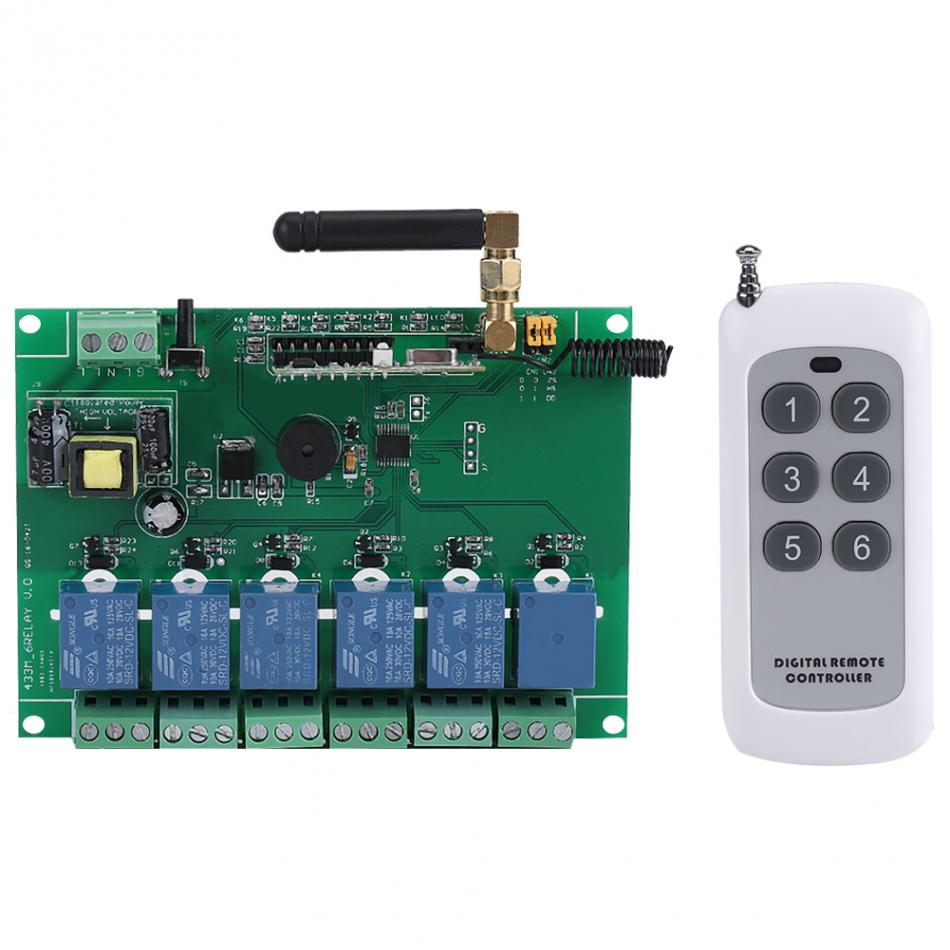 1pcs 110 240v Multifunction 6 Channel Rf Relay Module Board Remote Low Voltage Mains Switch 1 X Controller