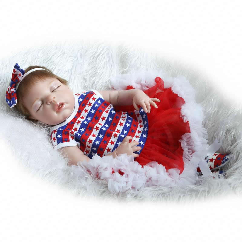 Real Lifelike 23 Inch Reborn Baby Doll Girl Sleeping Full Silicone Vinyl Princess Babies Dolls Kids Birthday Christmas Gift american girls doll full vinyl girl princess doll purple hat and dress reborn lifelike toy18 inch 45 cm perfect birthday gift