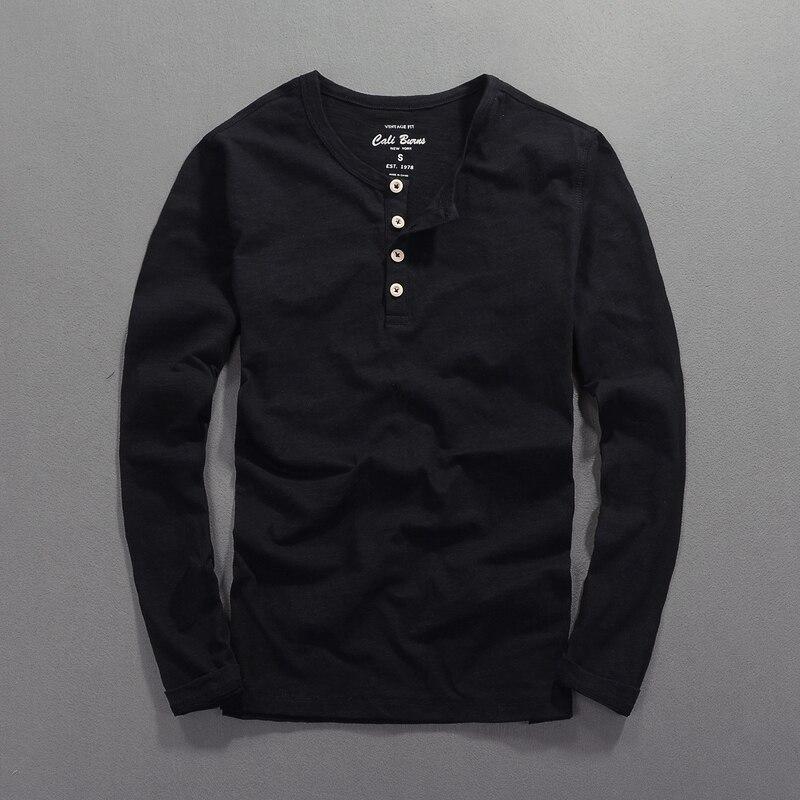 Four Button O-neck Designer Brand T-shirt Men Long-sleeved Cotton Men T Shirt Slim Fashion Tshirt Mens Drop Shipping Chemise