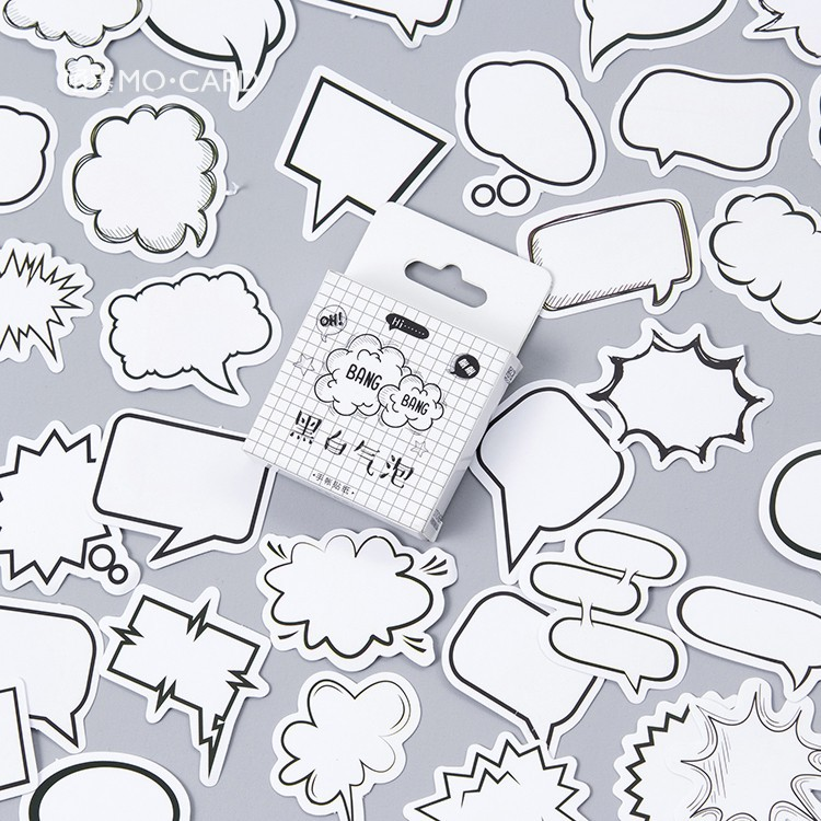45 PCS/PACK Black And White Message Box Stickers DIY Scrapbooking Paper Diary Album Planner Wedding Sealing Decoration @TZ-34