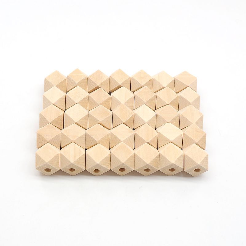 Chenkai 100PCS Hexagon Natural Wooden Beads Unfinished Baby Teether Wooden Teething Jewelry Necklace Beads in Baby Teethers from Mother Kids