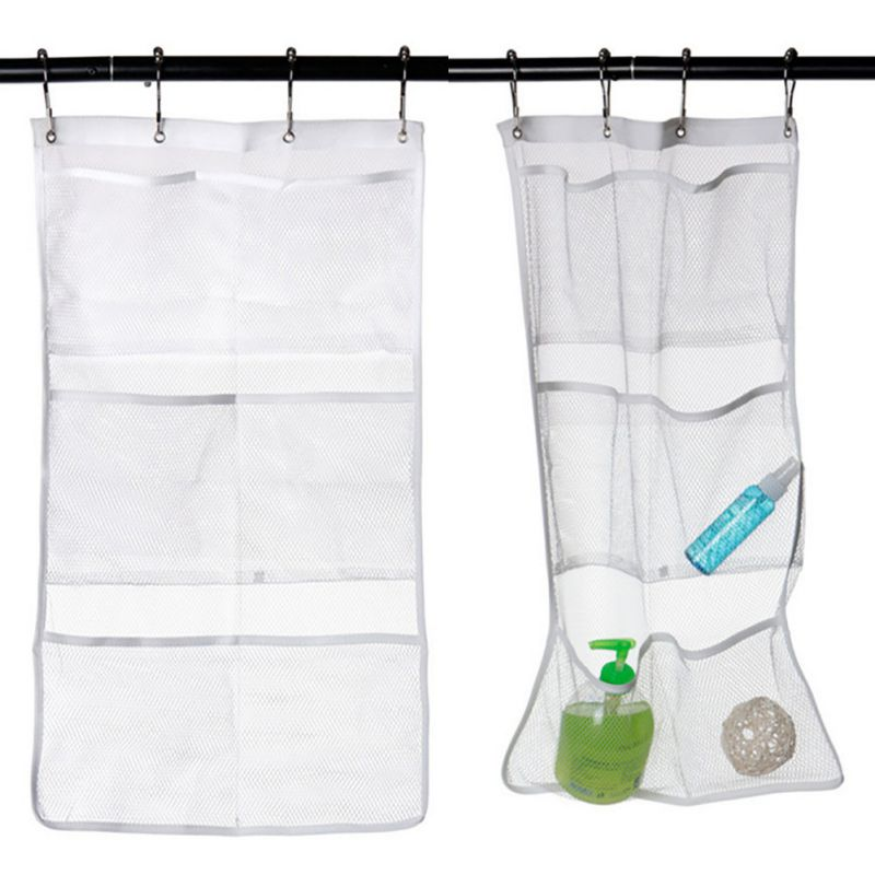 Online Shop Quick Dry Caddy Bath Shower Organizer Bags With 6 Pocket Hang  On Shower Curtain Rod /Liner Hooks Mesh Bathroom Bags | Aliexpress Mobile