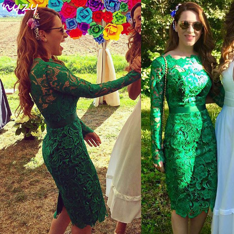 NYZY C2 Elegant 2019 Formal Dress Wedding Party Homecoming Lace Long Sleeves Green Cocktail Dress