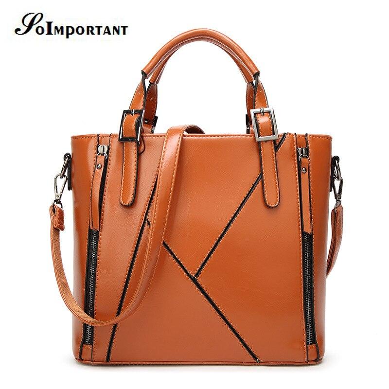 ФОТО New 2017 Hot Women Bags Women Oil Leather Casual Tote Crossbody Messenger Bags Female High Quality Shoulder Bags Bao Bao Handbag